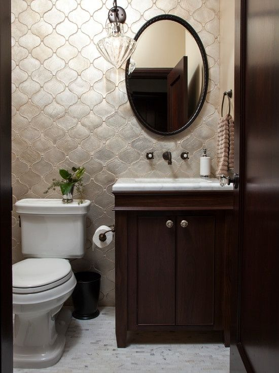 Art Deco Powder Room With Complex Marble Counters Clear Spirit By Grandeco Wallpaper Specialty Door Flush