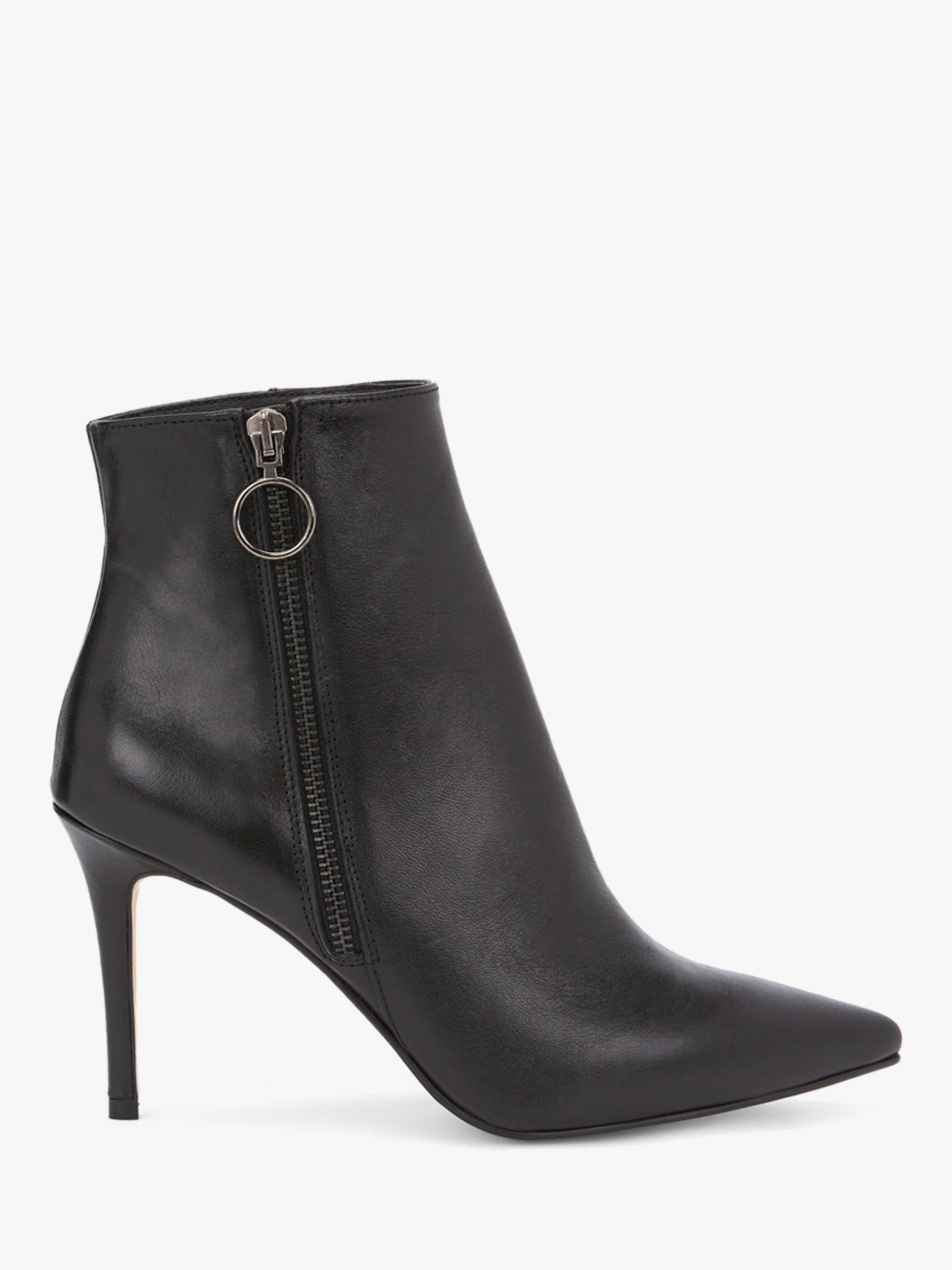 Mint Velvet Sally Leather Pointed Toe Ankle Boots, Black