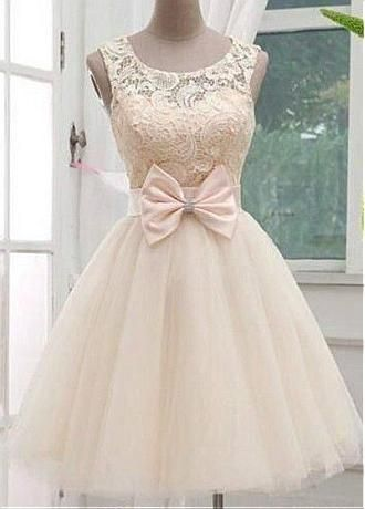 f6489c937ab Chic Lace   Satin   Tulle Bateau Neckline Short A-line Homecoming Dress