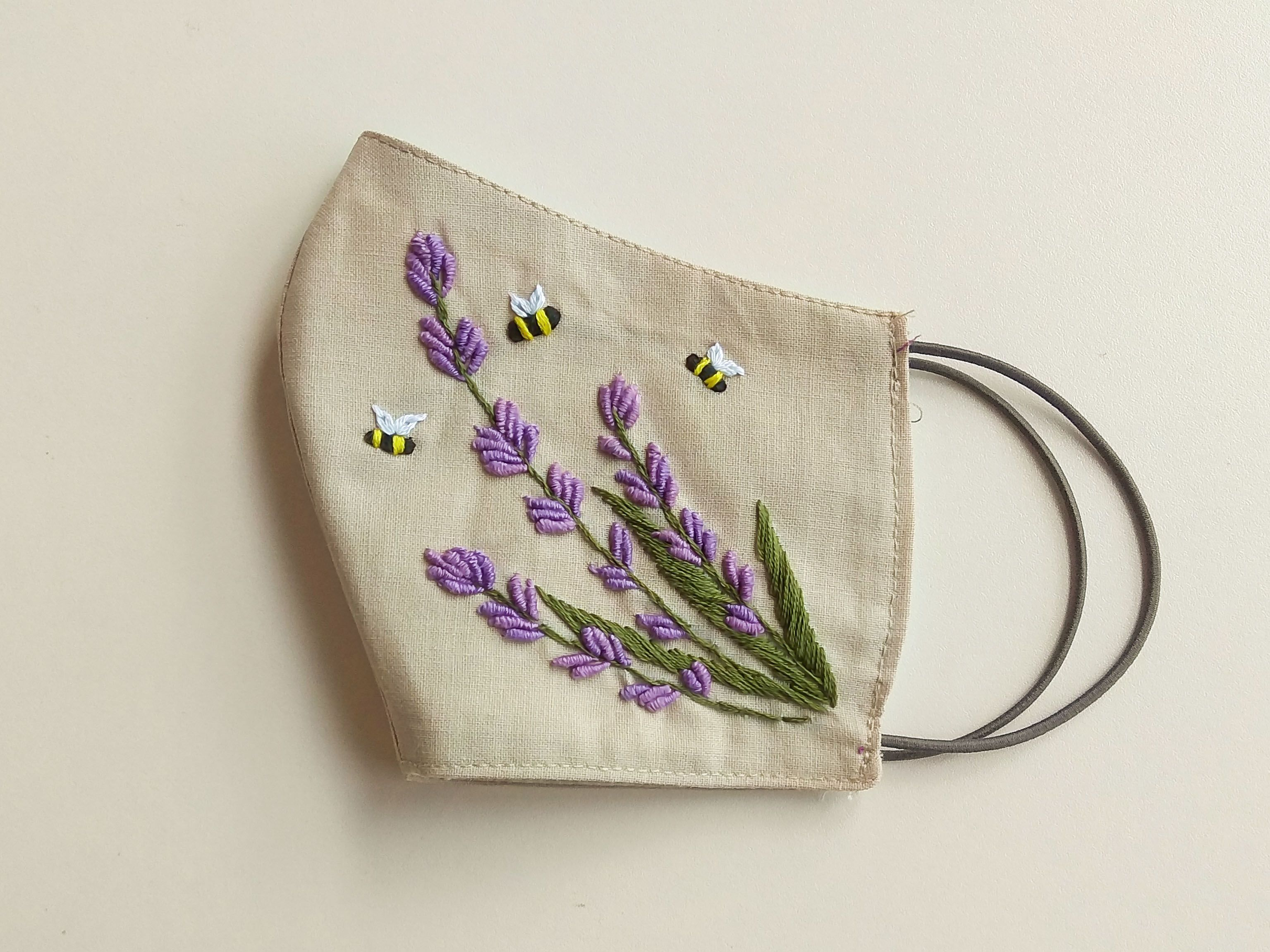 Photo of mouth mask fashion diy, cotton face mask fashion style, face mask design, embroidered lavender, bees