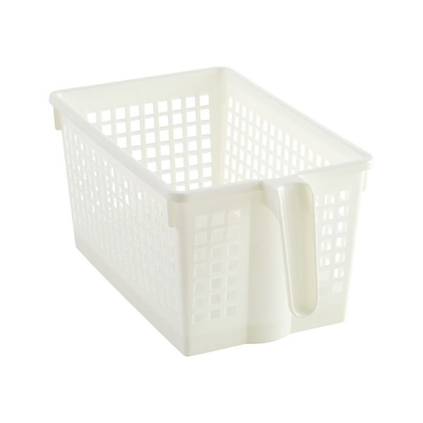 Small White Handled Storage Basket With Images Storage Baskets