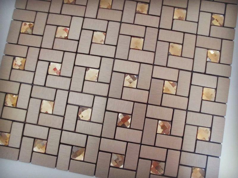 Adhesive Mosaic Tile Bronze Brushed Aluminum Metal Glass Diamond