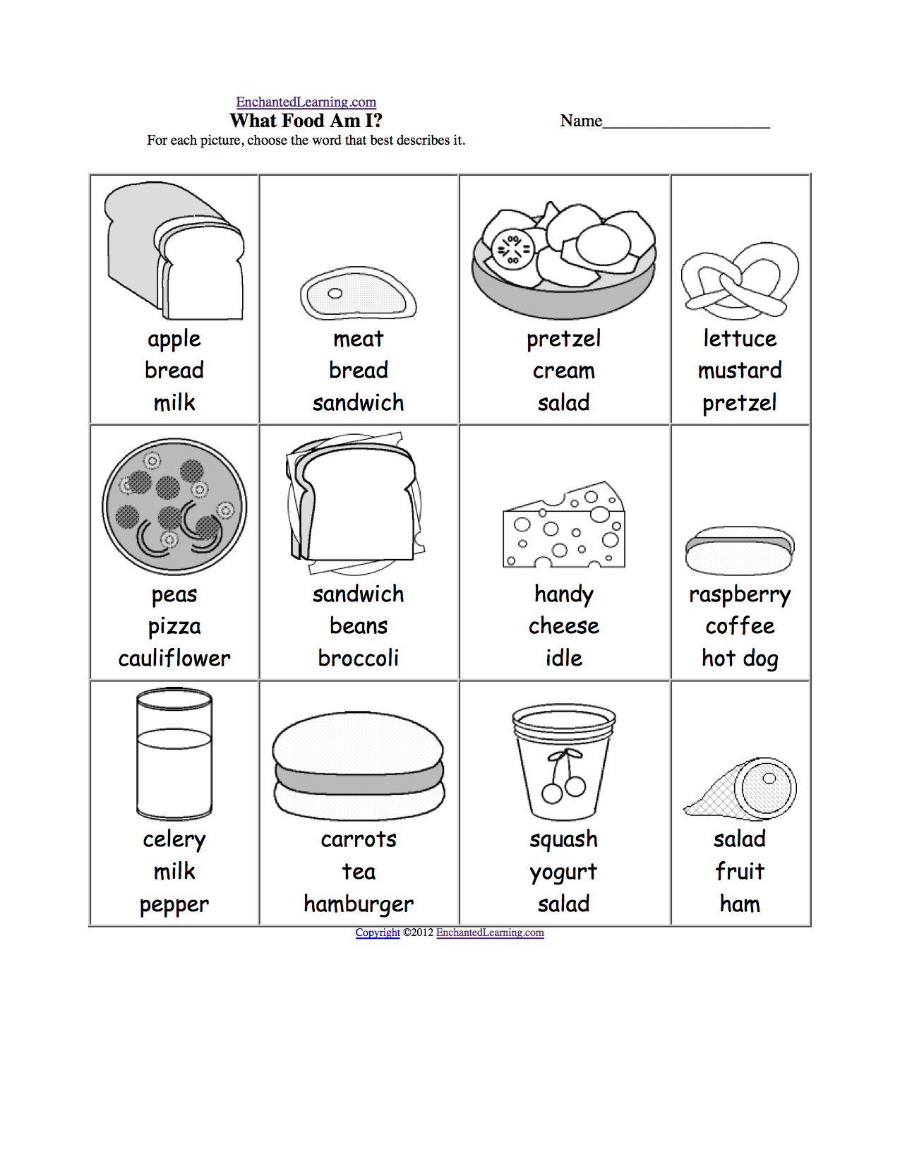 Food Worksheets