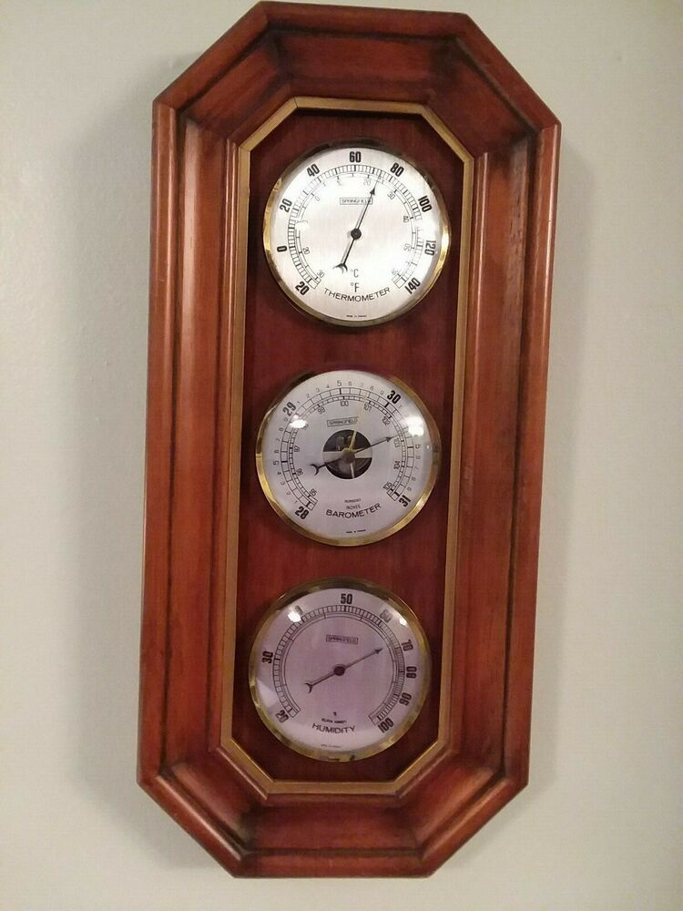 Springfield Wood Weather Station Barometer Thermometer Humidity Wall Mount Fashion Home Garden Homedcor Weather Station Antique Wall Clock Wood Plaques