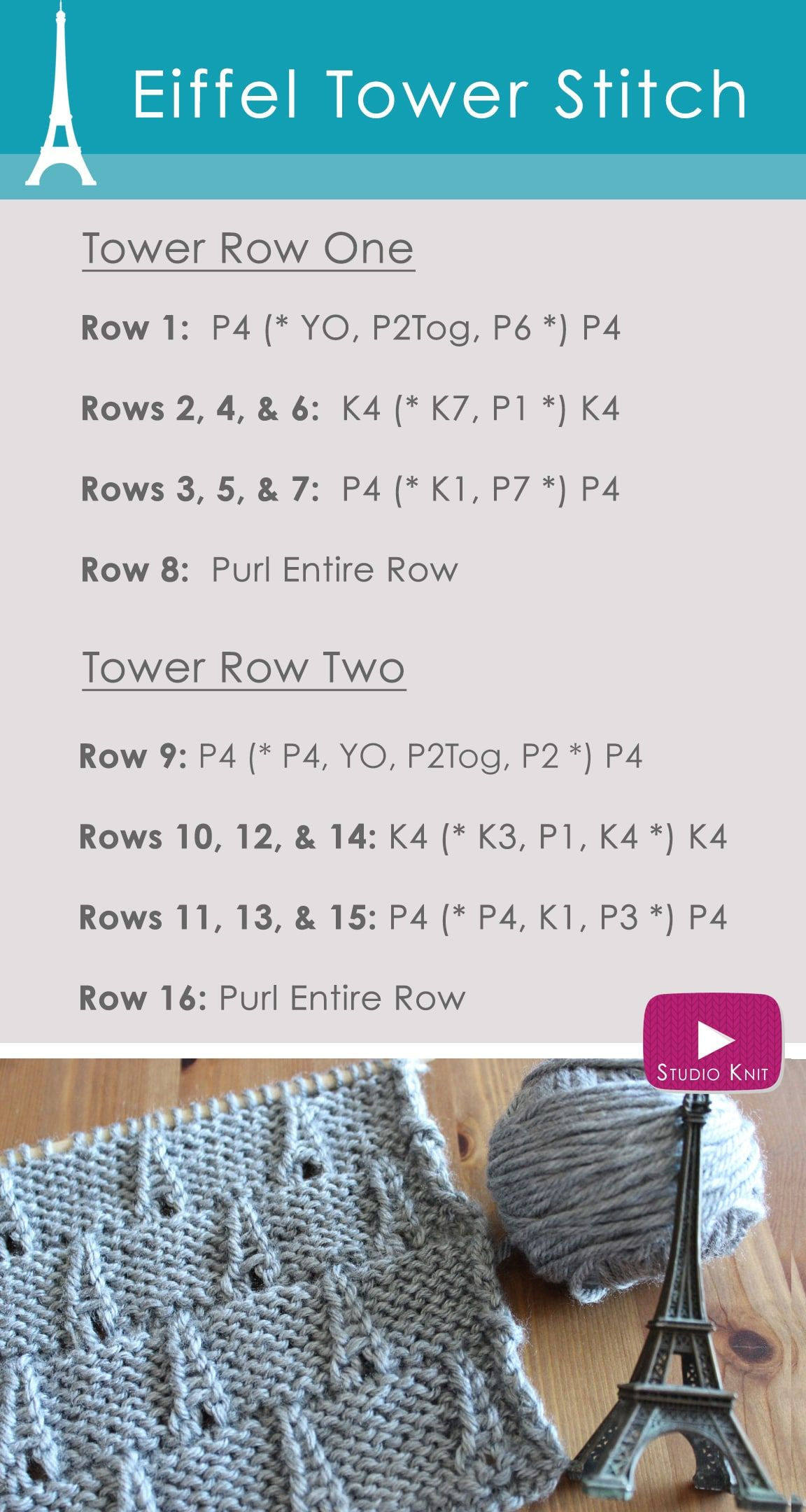 How to Knit the EIFFEL TOWER Eyelet Stitch Pattern with Video ...