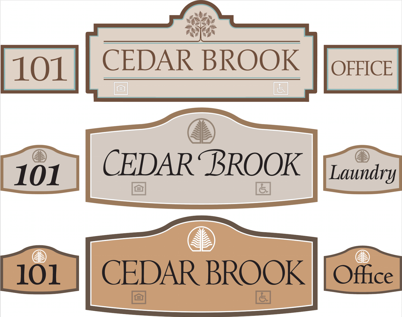 Custom outdoor sign design for Cedar Brook subdivision. Signs were routed in HDU. www.customoutdoorwoodensigns.com