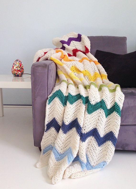 Rainbow blanket - cream white multi color crochet chevron afghan ...