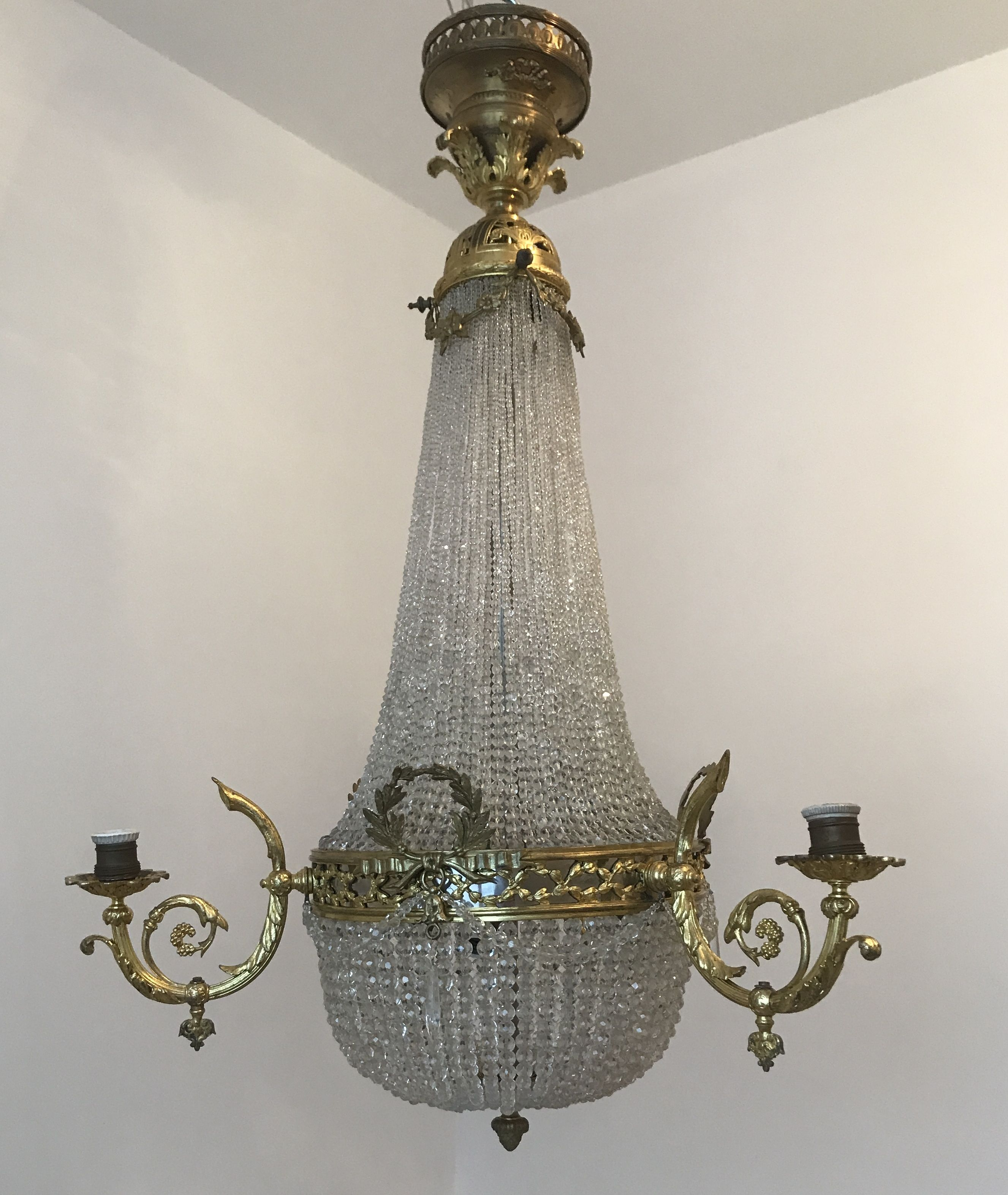 Antique French Empire Chandelier Regency Basket Tent And Bag 19th Crystal Beaded Lamp Gasolier Glass Ormolu Bronze Hand