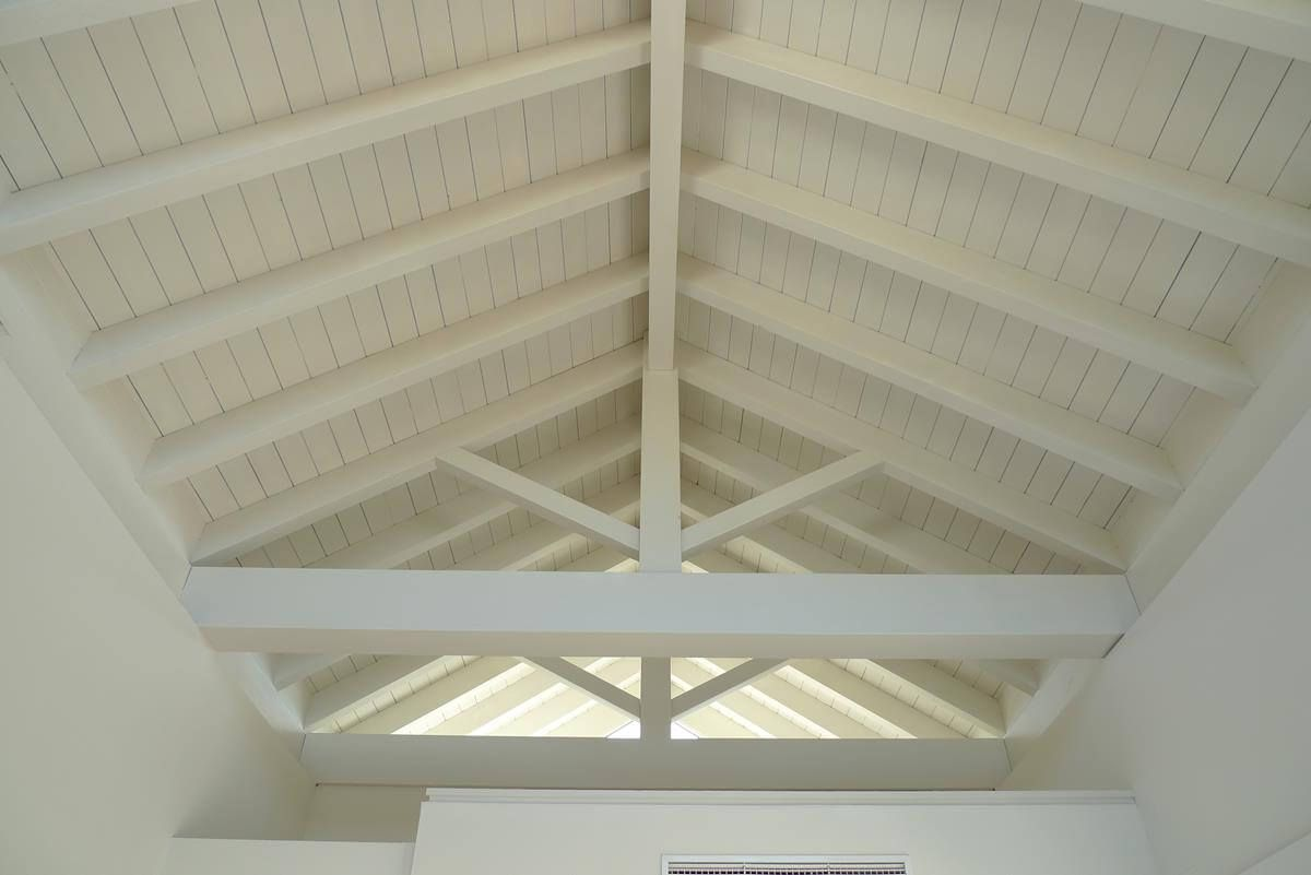 Coberti Vista Interior De Techo De Madera Color Blanco Techo - Techos-de-madera-para-interiores