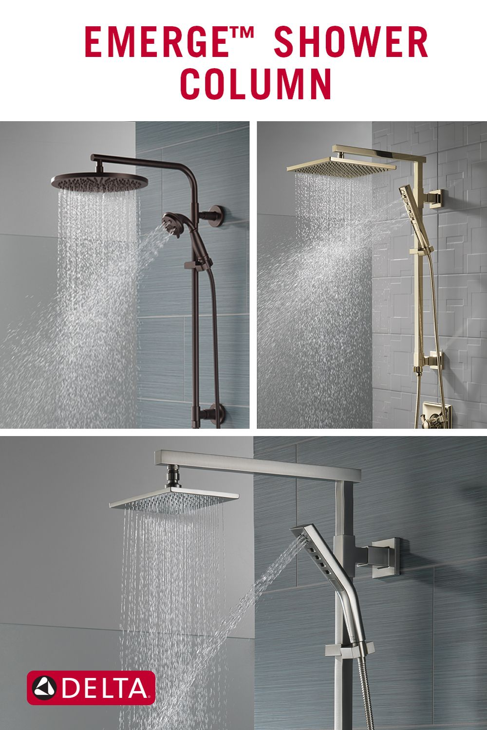 The Emerge Shower Column An Upscale Transformative Shower Option Shower Columns Delta Faucets Bathroom Delta Faucets