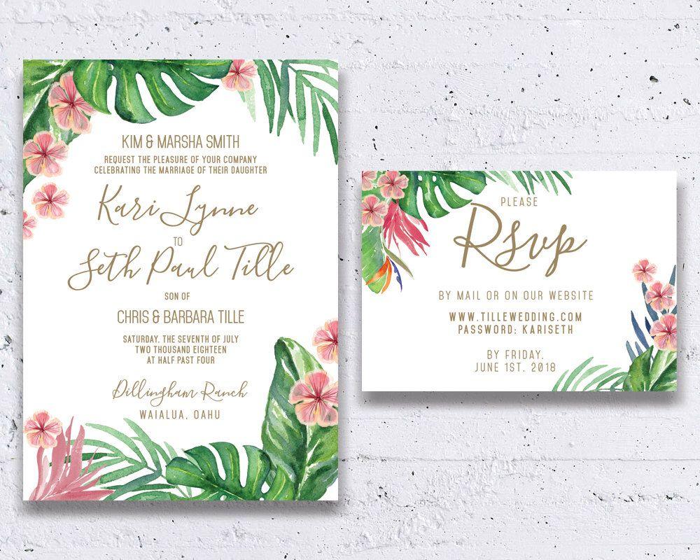 PRINTABLE Retro Hawaiian Wedding Invitation Hawaii Miami Tommy ...