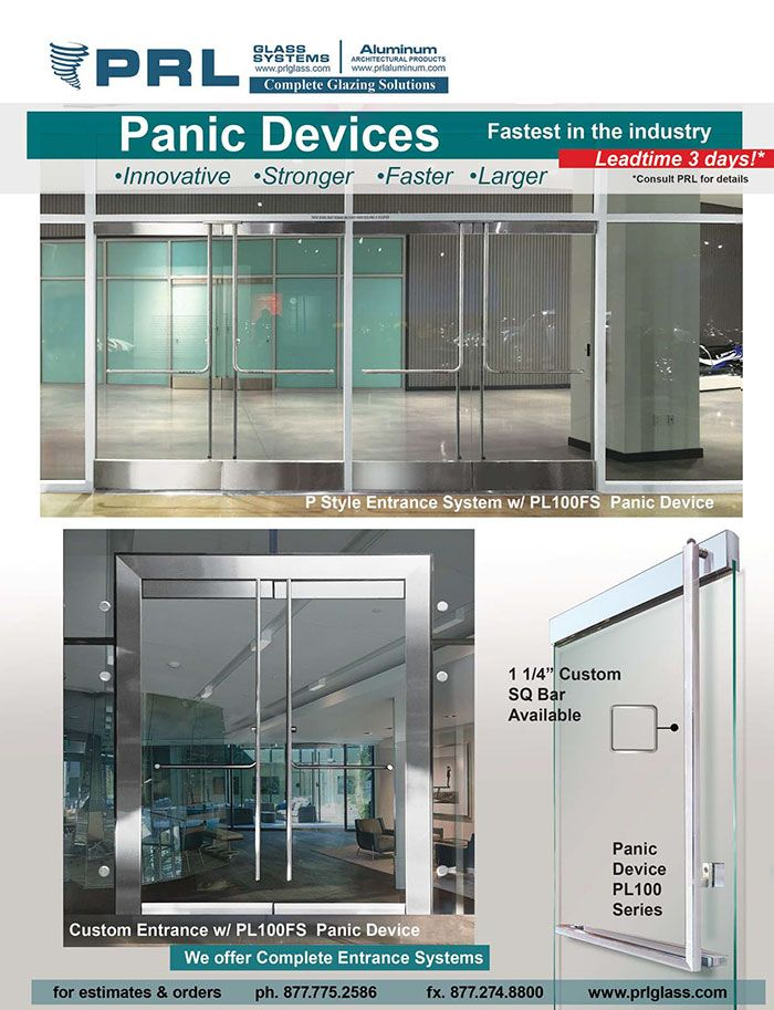 Panic Devices Are Interior Push Bars For Exterior Doors That Serve The Dual Purpose Of Meeting Emergency Egre Glass Facades Glass Entrance Doors Exterior Doors