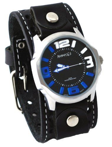 Nemesis #STH107KL Men's 3-D Raised Index Black Wide Leather Cuff Band Watch Nemesis. $54.97. Water Resistant - 5ATM. Mineral Crystal, Luminous Hands, Raised Index. Stainless Steel Case, Genuine Wide Leather Strap. Precise Japan Quartz Movement. Case Size:  43mm Diameter, 11.5mm Thickness, 24mm Lug Width