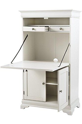 499 Amazon Com Louis Philippe Secretary Desk 56 25 Hx31 75 Wx17 D Polar White Kitchen Dining White Secretary Desk Secretary Desks Desks For Small Spaces