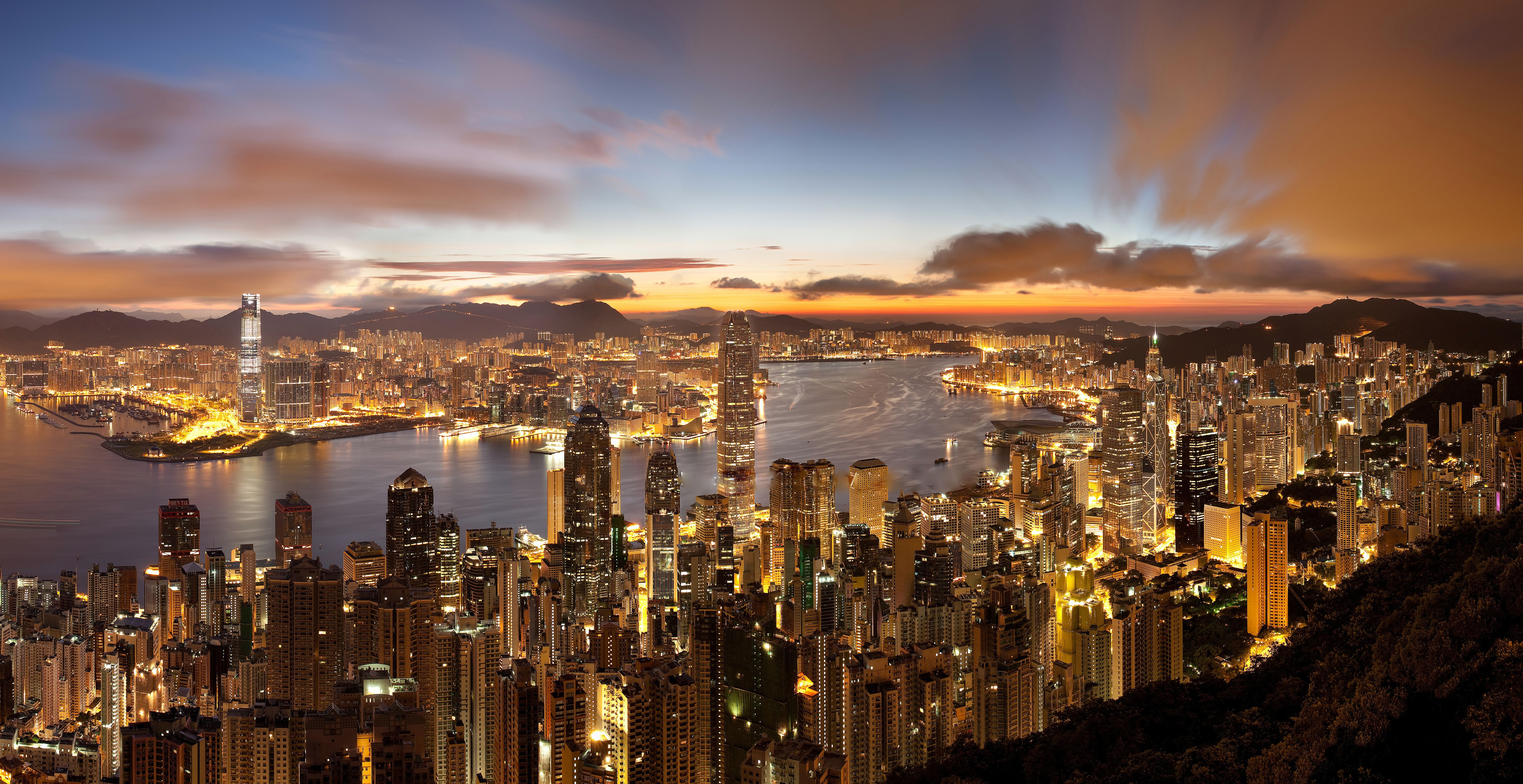 Hong Kong Sunrise Gorgeous HI Resolution Wallpaper Photo