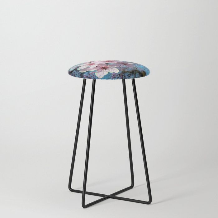 Cherry Blossoms Counter Stool by justkidding #CounterStools #nature #photography #graphicdesign #digital