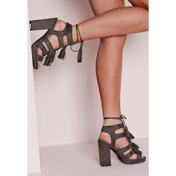 0ac23c11c54 Missguided Tassel Trim Block Heeled Sandals ( 60) ❤ liked on Polyvore  featuring shoes