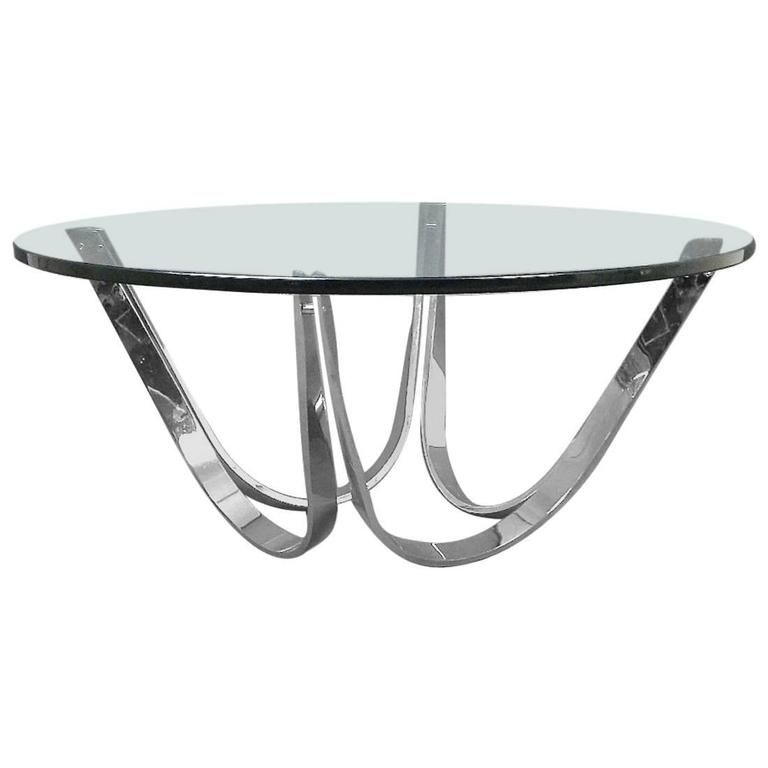 Roger Sprunger Chrome And Glass Coffee Table Produced By Dunbar
