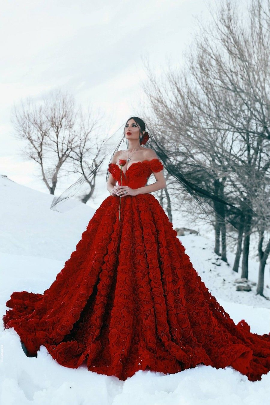 Red 3d Rosettes Off Shoulder Engagement Prom Gown Princess Ball Gowns Red Wedding Dresses Gowns [ 1350 x 900 Pixel ]