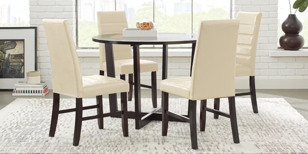 Mabry Espresso 5 Pc Dining Set With Cream Chairs Rooms To Go Green Dining Room Light Green Kitchen Dining Room Design
