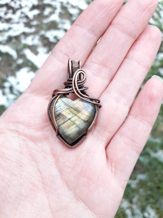 Labradorite Heart pendant necklace Love gift Wire wrapped romantic pendant Passion gift Valentine's day gift Gift for girlfriend mom sister