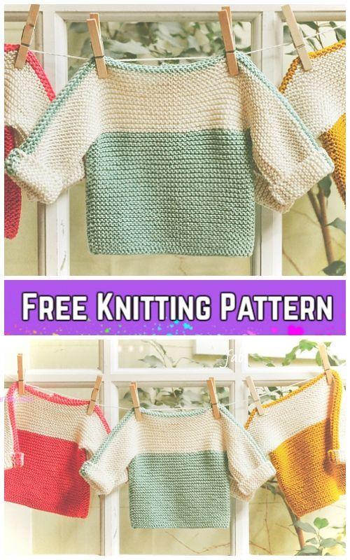 Photo of Easy Garter Stitch French Macaroon Baby Sweater Free Knitting Pattern