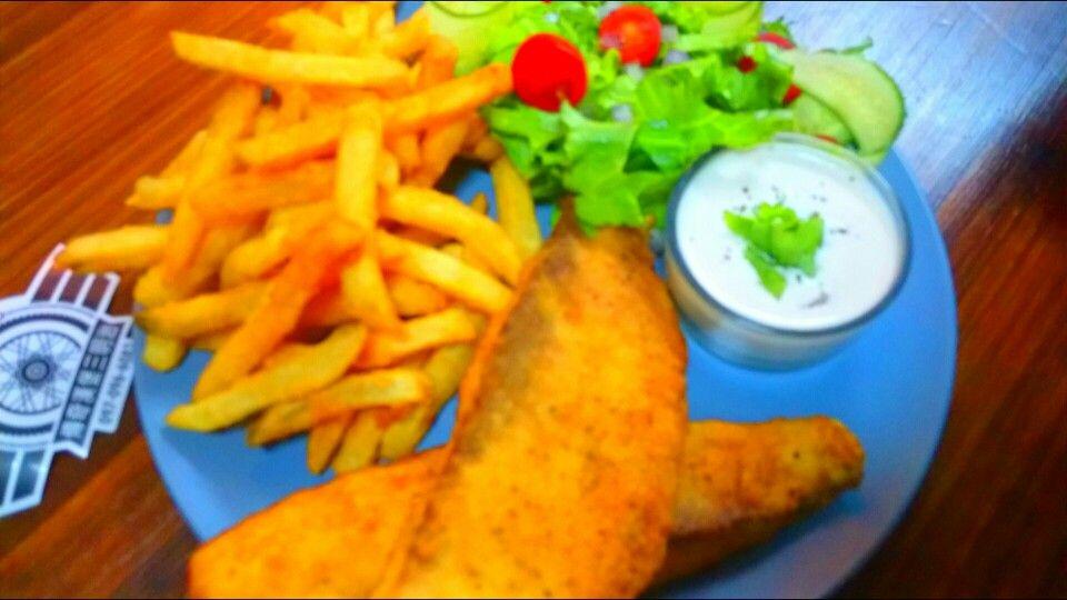 FISH  & Chips  6 Fresh cut potatoes  Fresh Talapia Flour Salt & cayenne pepper mix Baking powder