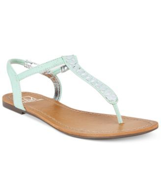 482cf1540690 Material Girl Sage T-Strap Flat Thong Sandals