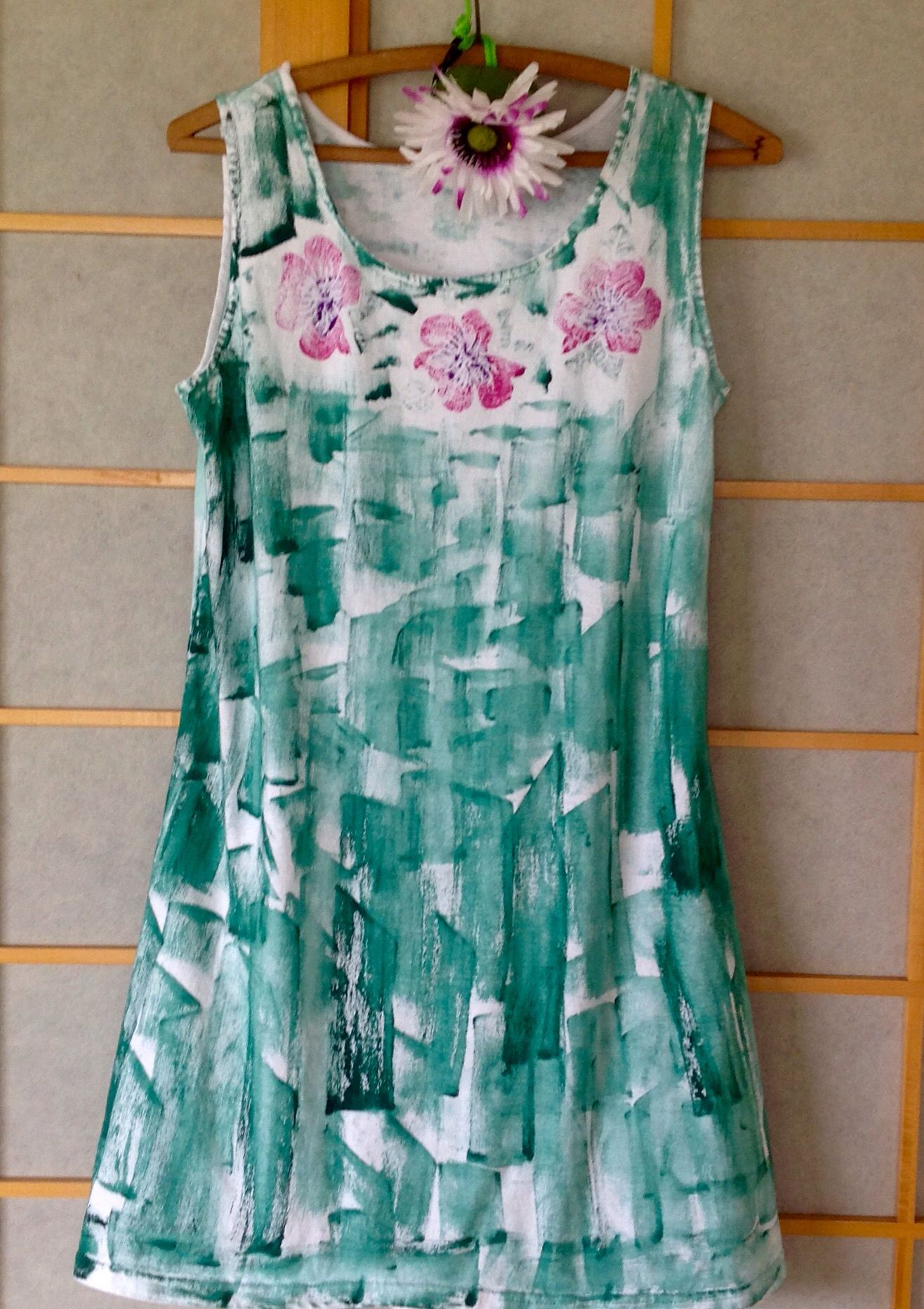 hand painted cotton sun dress in spruce with hibiscus available in size s - 2x