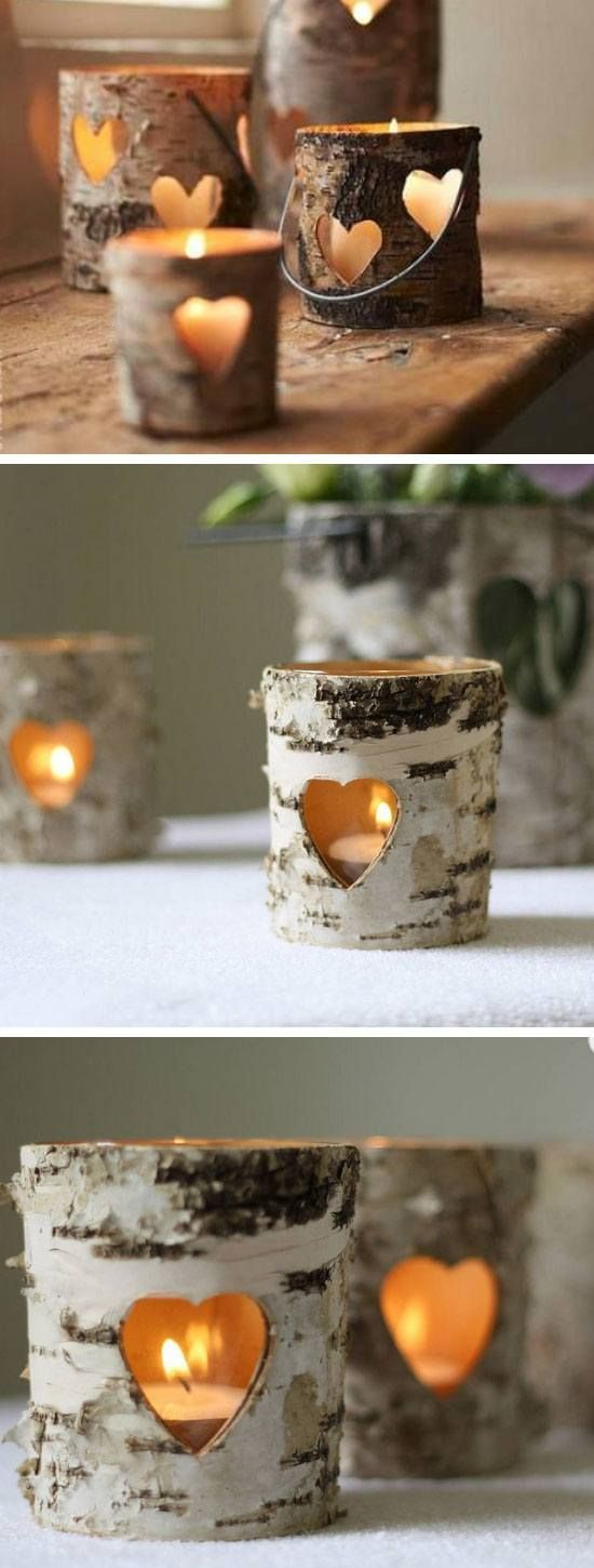 Bark heart lanterns - just so perfect for an outdoor or Autumn / Winter Wedding!
