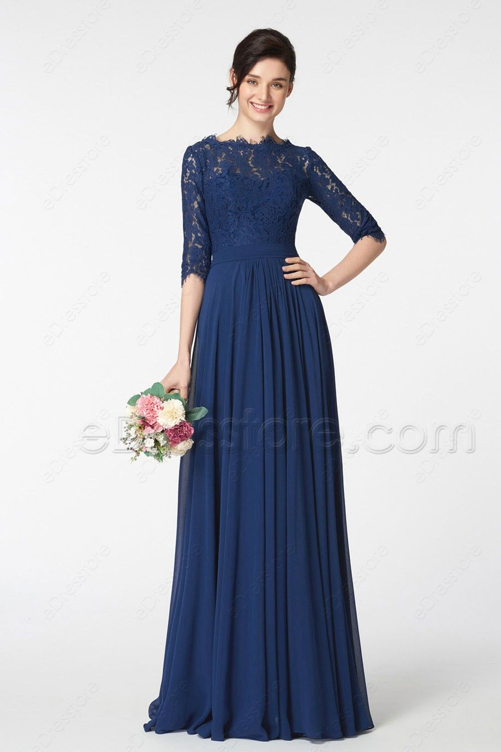a29e9752c9b ... plus size mother of the groom dresses. The navy blue bridesmaid dress  features scalloped O neckline and lace top