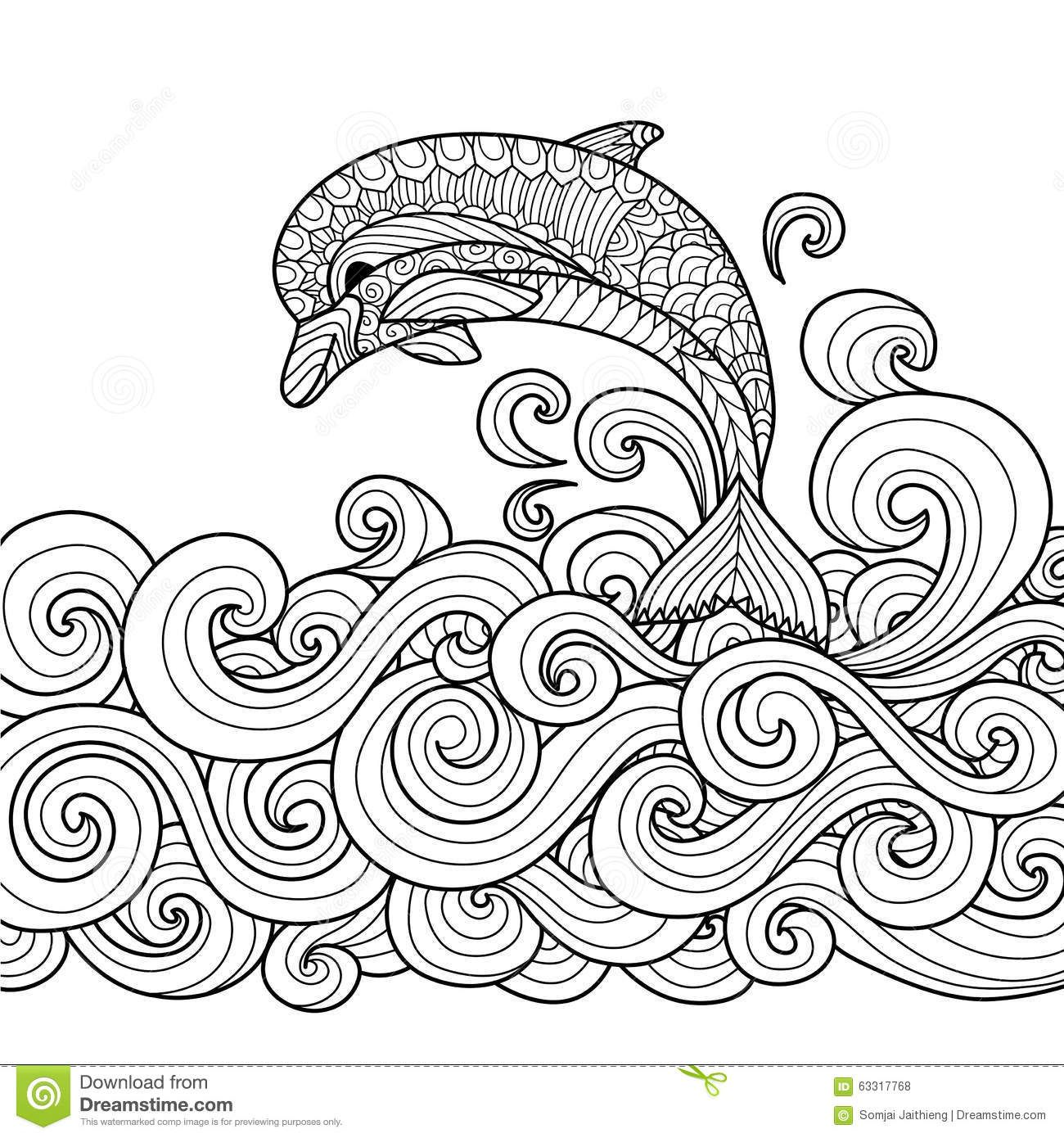 Zentangle Dolphin With Scrolling Sea Wave For Coloring