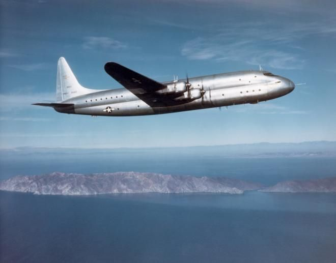 Aluminum Overcast - The Lockheed XR6O-1 Constitution was a post-World War II effort to produce a large cargo and passenger transport. With a wingspan of nearly 190 feet and length of 156 feet, the Constitution could carry up to 204 passengers.