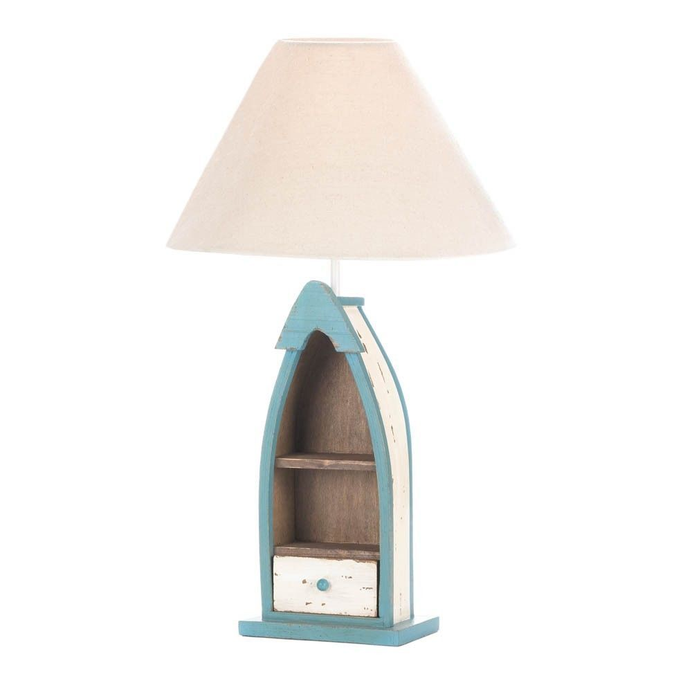 Wooden Boat Table Lamp Fishing Gift Nautical Accent Home Decor Light  Lightingu2026