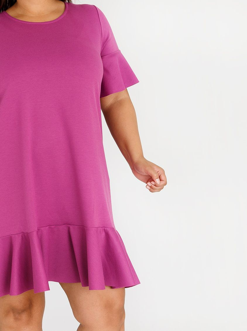 da416ea8e4df3 edit Plus Ruffle Sleeve T-shirt Dress Magenta