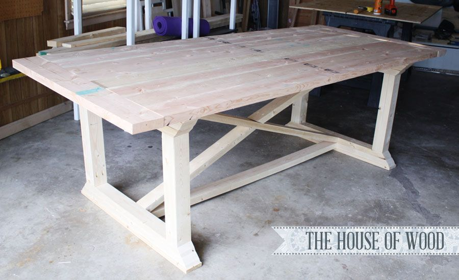 Rekourt X Base Farmhouse Dining Table With Images Diy Dining