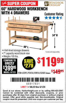 Windsor Design 60 In 4 Drawer Hardwood Workbench For 119 99 In 2020 Hardwood Wood Blocks Workbench