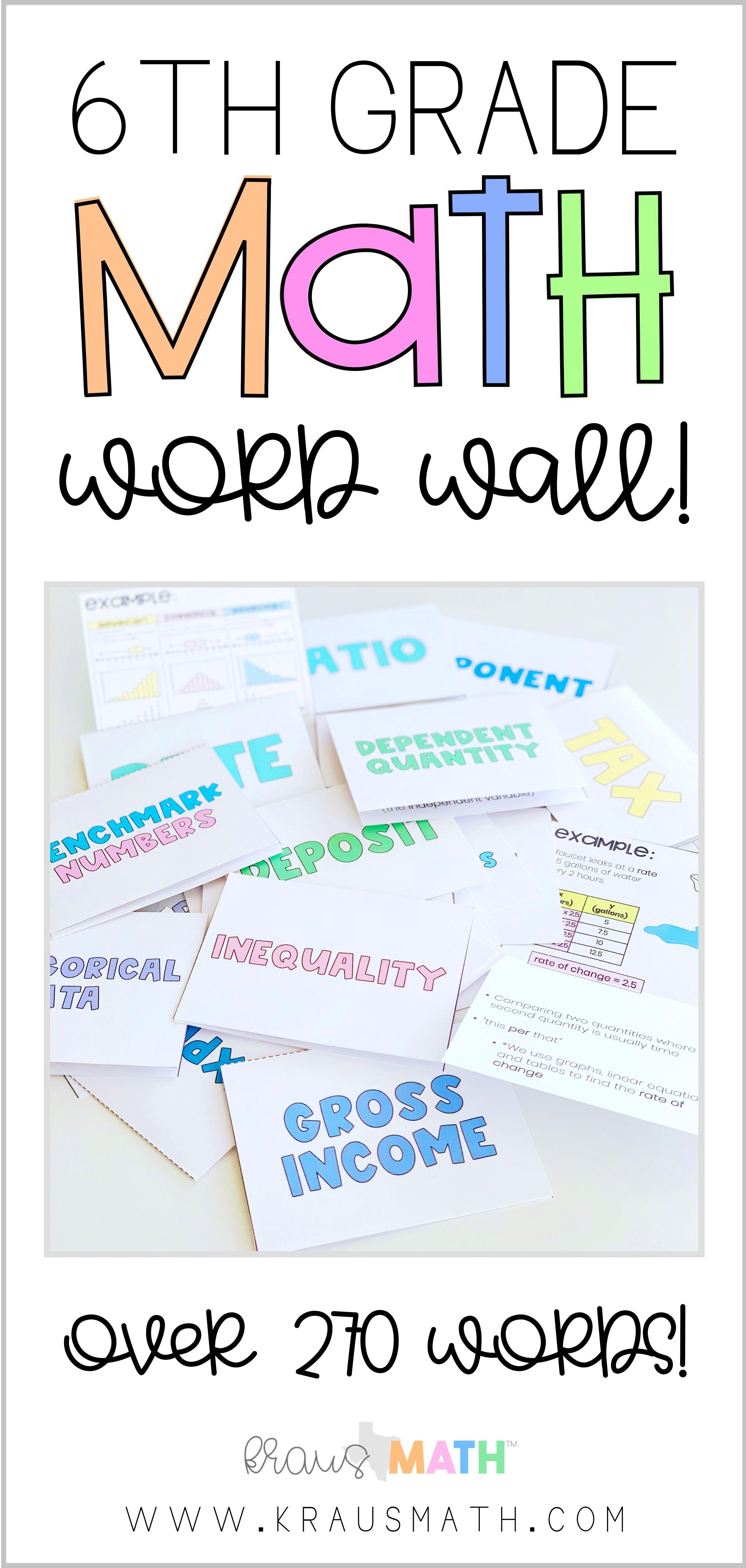 6th Grade Math Flip Card Word Wall Kraus Math Math Word Walls Middle School Math Sixth Grade Math [ 5250 x 2500 Pixel ]