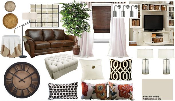 Bright Pottery Barn Inspired Living Room Mood Board Leather Couch