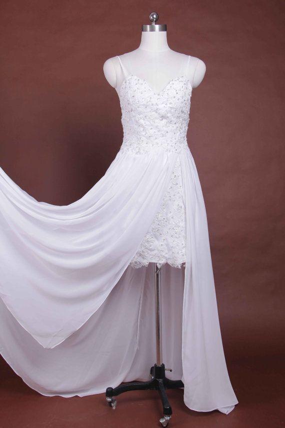Chiffon beach wedding dress Low back bridal wedding by BBW168