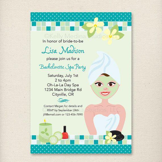 custom spa day bachelorette party invite by kellymedinastudios