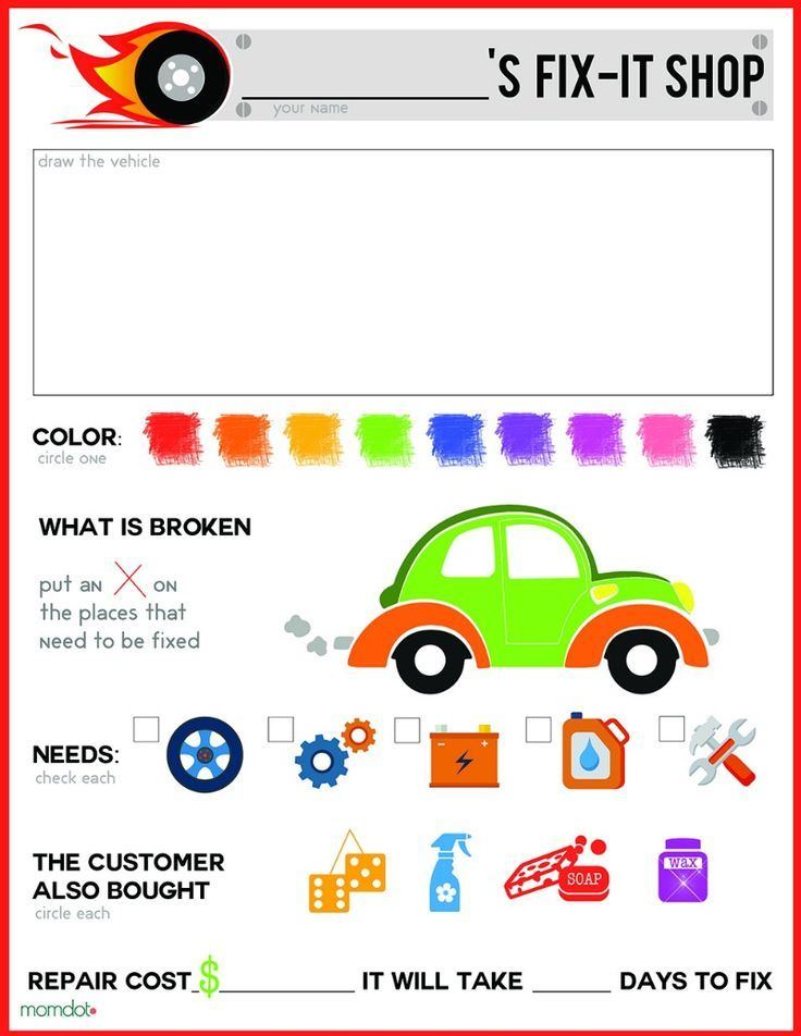 Mechanic Pretend Play Sheet Free Printable With Images