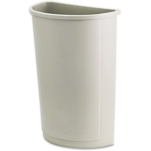 Rubbermaid Commercial Half Round Beige Plastic Untouchable Waste Container, 21 gal