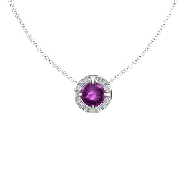 DOrsay Round Petite Pave Pendant styled in rhodolite garnet and