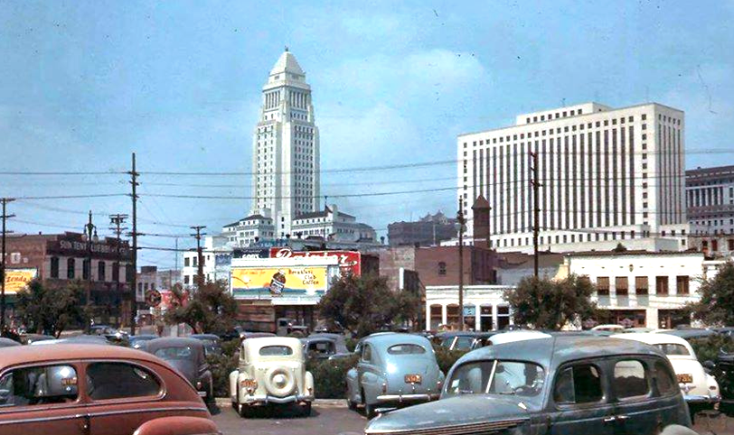 Downtown Los Angeles With City Hall In Color Circa 1940s With