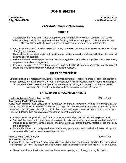 click here to download this emergency medical technician resume