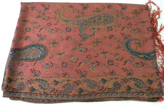 930f66540 Vintage 100% silk pashmina shawl/wrap/scarf. Made in India by Lucky  Elephant in early 1990s. Parsley design in dusty dark pink and teal.