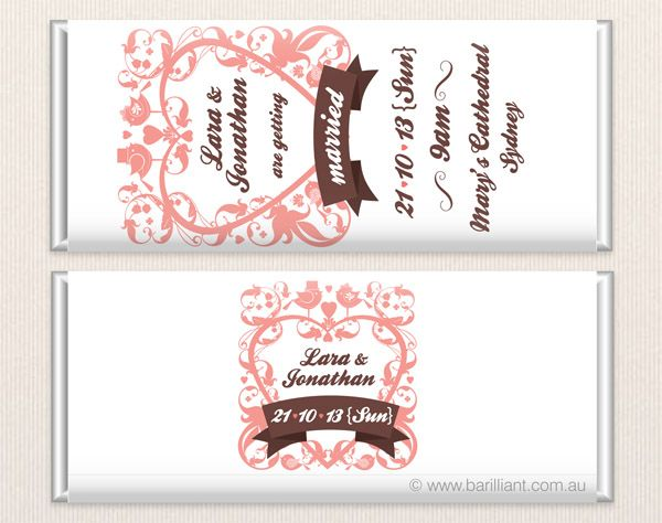 Personalised Wedding Chocolate Bar Www Barilliant Au Candy Favours Cake Beautiful Sweet Bonbonniere Treat Gift Bridal