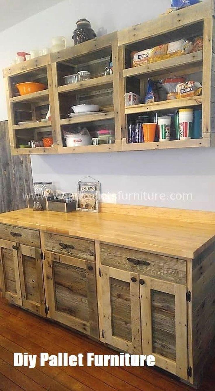 Pallet Cabinet Diy Pallets en 11  Meuble rangement cuisine