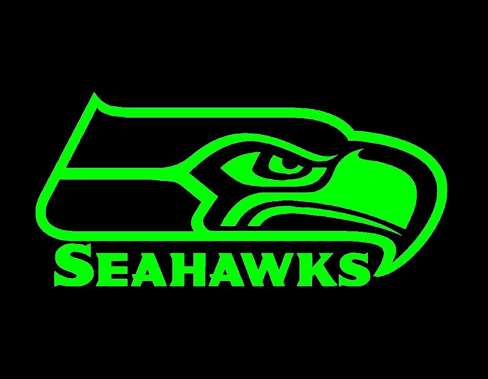 "5.99 Seahawks Vinyl Decal Neon Green 4.25"" X 9"" Seahawk"
